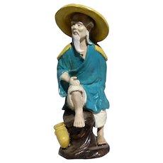 Large Mudman With Brush Washer, As Fisherman With Bait Bucket