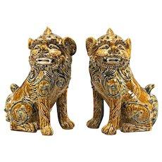 PAIR of Large Chinese Glazed Stoneware Lions