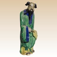 Unusual Chinese Mudman Sage or Potentate, Holding Fan (Symbol of Authority) In Refined Robes