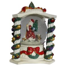 """Revolving Musical Snow Globe With Glittering Snow Playing """"Deck The Halls"""""""