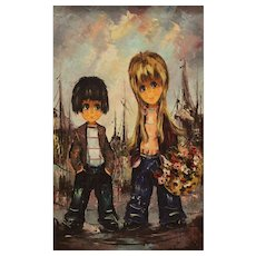 "Original Signed Oil On Canvas - ""Boy and Girl With Flowers"""