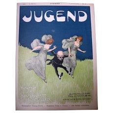 ART NOUVEAU 1896 Original Cover for Jugend Running Ladies, Fantastic!