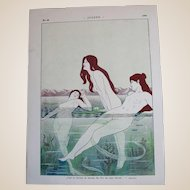 "Art Nouveau JUGEND 1898 Nude Nymphs (""Nixes"") Swimming, Signed By Artist, E. Loeber"