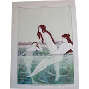 """Art Nouveau JUGEND 1898 Nude Nymphs (""""Nixes"""") Swimming, Signed By Artist, E. Loeber"""