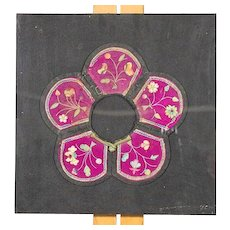 Antique Chinese Embroidered Silk Collar, Framed, Circa 1880