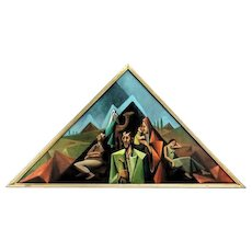 Very Large Signed/Dated Original Triangular Painting On Board, c. 1984