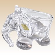 Cristalleries de Vannes-le-Chatel Signed Fine French Crystal Elephant Candy Dish