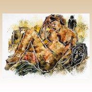 CALVIN WALLER BURNETT  (American, 1921-2007) Original Signed Nude - Acrylic on Canvas