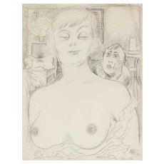 "THEODORE HAAS (German 1861 - 1933) -Original Signed/Titled/Dated Graphite on Paper ""For Kuabe"" c 1925"