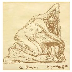 """Hector Joseph Lemaire  (French, 1846-1933) Original Antique Ink On Paper,  """"La Source"""" Titled and Dated c 1910"""