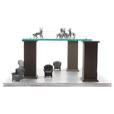 "NATASHA NICHOLSON (American 20th Century) Unique Mixed Media Sculpture ""Dogs Are Upper Level"""