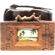 """Fascinating Wood And Postcard Sculpture """"Southbound"""" - By Charles H. Wiley (20th Century)"""