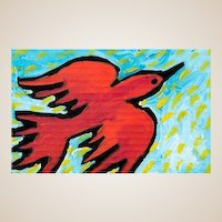 "SHANNAN PALMER (Australian 20th Century) ""The Red Bird Who Loves Flying In The Sun"" Original Signed/Titled/Dated Oil Painting"