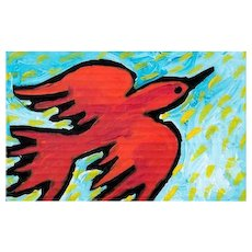 """SHANNAN PALMER (Australian 20th Century) """"The Red Bird Who Loves Flying In The Sun"""" Original Signed/Titled/Dated Oil Painting"""