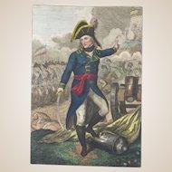 RARE 18th Century Colored Engraving Of Napoleon