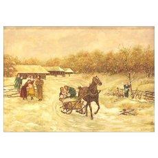 "Charles Stuart Millard (Canadian - 20th Century)  Signed Original Oil ""Village Scene"" On Board, Framed."