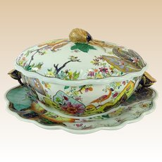 Vintage Mottahedeh Large Covered Tureen With Underplate And Fruit Finial - Tobacco Leaf - Closed Edition