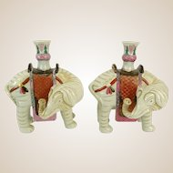 PAIR Signed Vintage Chinese Style Mottahedeh Porcelain Elephant Vases, Retired