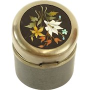 Antique Travel Inkwell With Pietra Dura Top, Signed