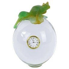 Daum France Pate de Verre Frog On Glass Orb With Clock, Rare Find
