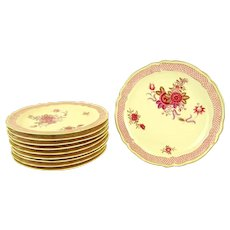 "Bernardaud & Cie, France, Limoges Porcelain TEN Dinner Plates, ""Nankin"" Pattern, Mid 20th Century"