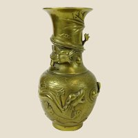 Antique Chinese Signed Brass Vase In High Relief.
