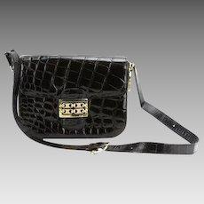 CELINE Vintage Designer Black Leather Handbag