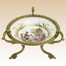 Antique Signed Sevres Style Porcelain Dish With Bronze Ormolu Mounts, Fragonard