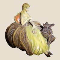 ANTONIO BORSATO - Very Early Large Gres Porcelain Of Lady With Her Dog, Mounted On Base