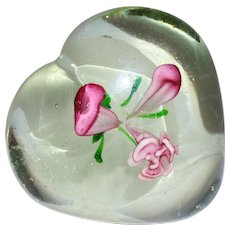 Hearts and Flowers Crystal Paperweight Perfect For Valentine's Day