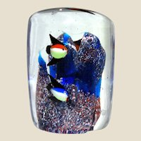 Art Glass Impressionist Paperweight Of Underwater Scene With Fish and Coral