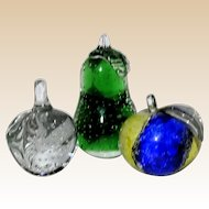 THREE Beautiful Art Glass Fruit Paperweights - One Swedish, Two Unmarked