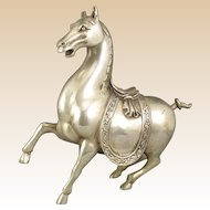 Chinese White Copper Sculpture Of A Horse