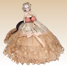 Antique Dresser Box With Bisque Half Doll