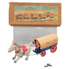 Prairie Schooner Wind-Up Toy With Original Box And Key, Circa 1947, Occupied Japan