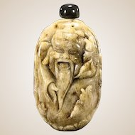 Unusual Carved Tan Jade Snuff Bottle Of Ebisu Surrounded By Fish
