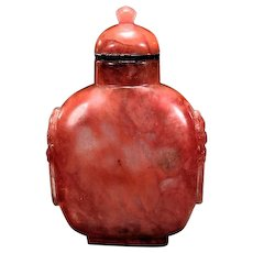 Antique Salmon Pink Glass Snuff Bottle