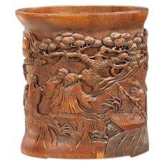 Large Chinese Carved Bamboo Brushpot