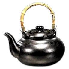 Large Chinese Glazed Stoneware Teapot With Bamboo Handle