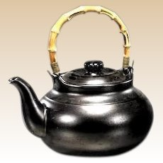 Large Chinese Glazed Stoneware Teapot With Bamboo Handle