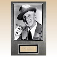 """""""Jimmy"""" Durante (February 10, 1893 – January 29, 1980) -  Framed Photograph and Autograph"""