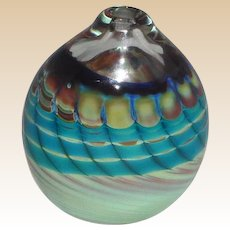 Signed Art Glass Paperweight or Cabinet Vase - Turquoise, Greens, Deep Blues and Undertones of Purple, c. 1983