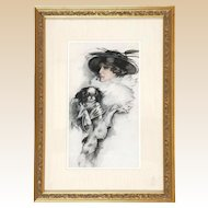 Original Signed American School Portrait of Woman With  Her Dog (Shih Tsu, Cavalier King Charles Spaniel or Japanese Chen?)