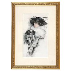Original Signed American School Portrait of Woman With  Her Dog (Shih Tsu, Cavalier King Charles Spaniel or Japanese Chin)