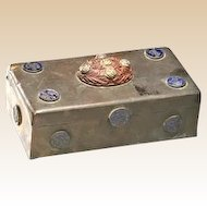Unusual Chinese Brass Box With Carved Wood Finial and Nine Enameled Medallions, Three Interior Compartments