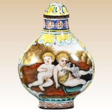 Unusual Signed Enameled Snuff Bottle On Copper With Scenes Of European Children