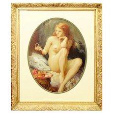 "Joseph Tomanek, (Czechoslovakian/American 1889-1974) Oil on Artist Board ""Nude with Red Hair"" - Signed"