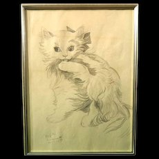 Leonard Tsuguharu Foujita  (Japanese 1886-1968) Original Signed Portrait of Cat
