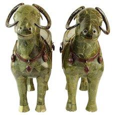 Unusual Pair of Vintage Very Large Jade Veneer Water Buffalo Figures, With Hidden Containers