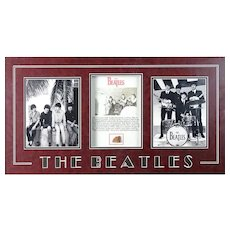Framed Beatles Memorabilia Including Photos And A Piece Of Brick From The Cavern Club.